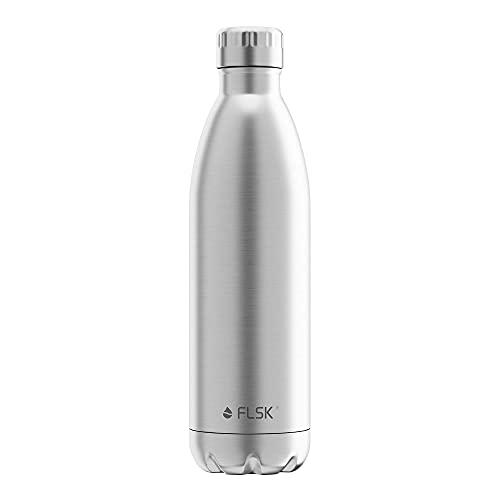FLSK Das Original New Edition Edelstahl Trinkflasche • 750ml • Kohlensäure geeignet • Die Isolierflasche hält 18 Stunden heiß und 24 Stunden kalt • ohne BPA und rostfrei • Stainless