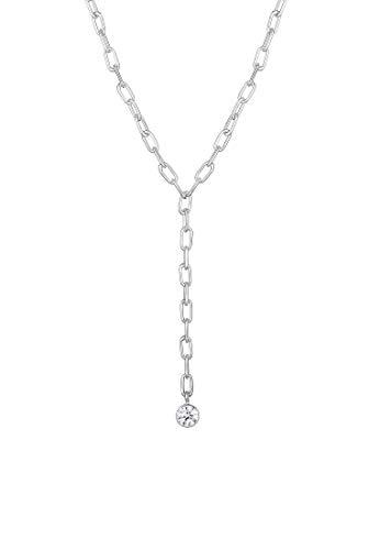 Elli PREMIUM Halskette Damen Geo Bicycle Chain mit Swarovski Kristalle in 925 Sterling Silber