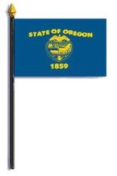 Oregon State Flag Rayon On Staff 4 In. X 6 In.