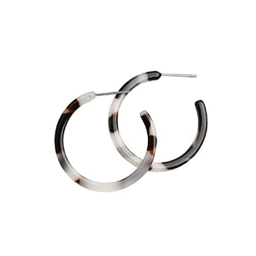Idkska Pendientes de aro de acrílico moteado para mujer Pendientes de joyería de resina de acetato circular para niñas Pendientes de plata 925 para niñas Pendientes para niñas Conjuntos de aretes