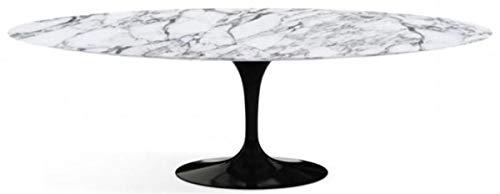 Casa Padrino Mesa de Comedor Blanco/Negro 200 x 122 x A. 74 cm - Mesa de Cocina Ovalada con Tablero de marmol de Carrara - Muebles de Comedor