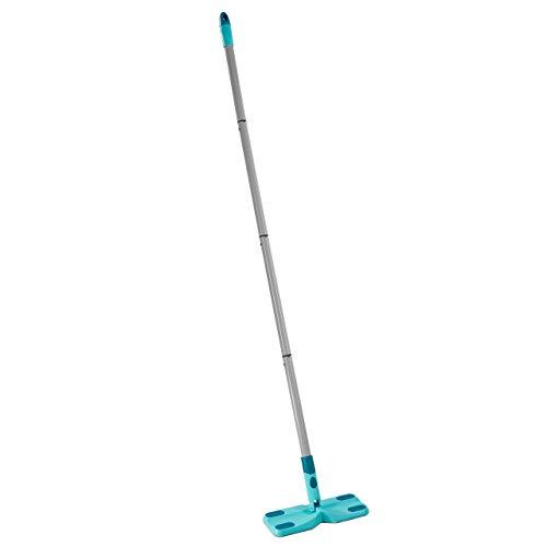 Leifheit Mopa atrapapolvo Clean & Away con palo y 5 gamuzas, set de limpieza con mopa para suelo, mopa plana con articulación giratoria en 360º