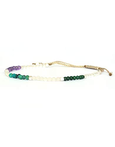 Crystal Aura armband met natuurlijke edelstenen amethist, rozenkwarts, maansteen, malachiet, chrysocoll en helder kwarts. Zilveren parels.