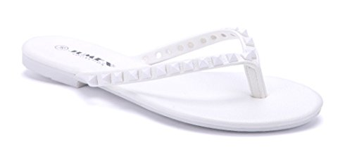 Schuhtempel24 Damen Schuhe Zehentrenner Sandalen Sandaletten weiß flach Nieten