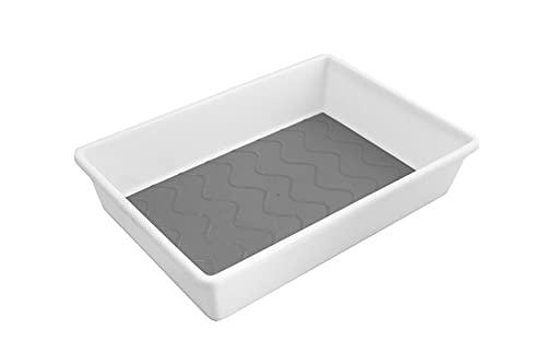 Moritz Camping Besteckkasten für Schublade, Mehrzwecktablett, Besteckeinsatz mit 1 großes Fach 25x17x5 cm grau antirutsch Einlagen und Füße