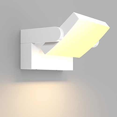 Klighten 24W LED Lámpara de Pared Exterior Interior IP65, Apliques de exterior Ajustable, Moderno Apliques de Pared Aluminio para Entrada Jardines Balcones, Blanco Cálido 2700K-3000K, Blanca