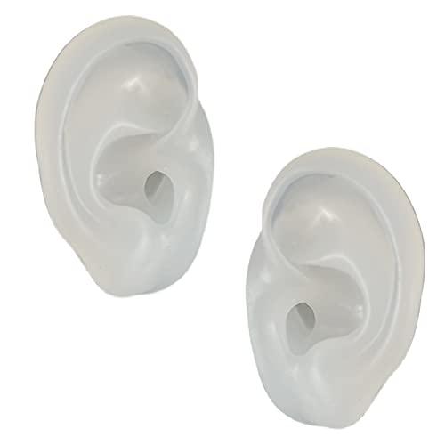LUCKFY Modelo de Oreja Humana - Modelo de Oreja de Silicona translúcida - Auriculares Pendientes Joyas Mostrar Accesorios, práctica Piercing Herramientas para audífonos,1 Pair