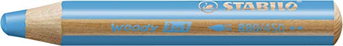 Buntstift, Wasserfarbe & Wachsmalkreide - STABILO woody 3 in 1 - Einzelstift - cyanblau