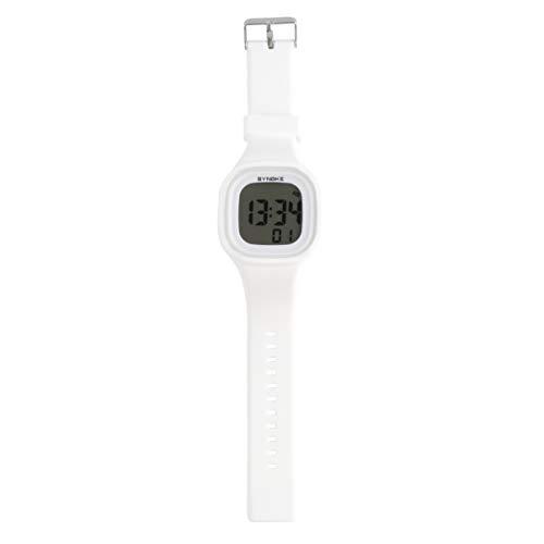 Hemobllo Digitale Armbanduhr, wasserdicht, Sportuhr, mit Schimmer im Armband aus dunklem Silikon, Geschenk für Frauen, Männer und Kinder (Rosa), Mädchen, 1012BF1XZ41VN4521FR0, weiß, 23,5 * 4,5 cm