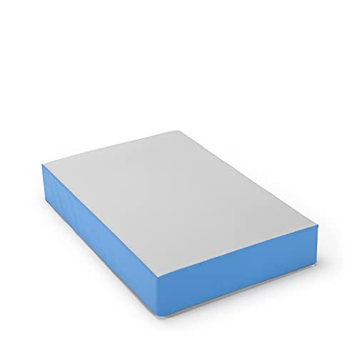 traturio Colchón hinchable para interior y exterior en bonitos colores para todos los saltadores pequeños, 107 x 70 x 17 cm (exterior gris/azul medio)