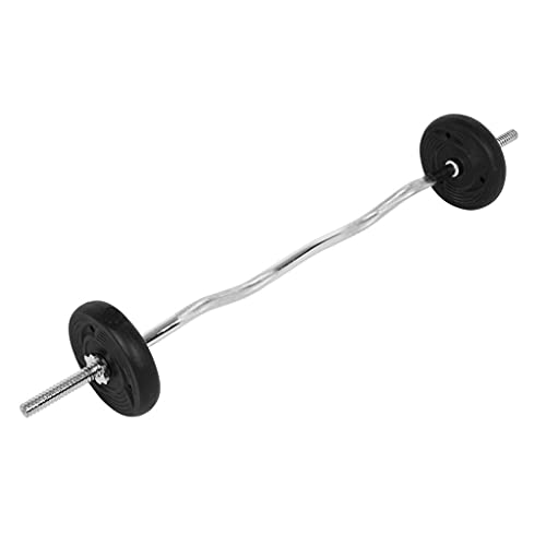 47''Barbell Weight Bar Standard Curl Lifting Bar with Chrome Standard Threaded Handle&Ring Collars for Home Exercise Workout Gym Lifting (Silver)