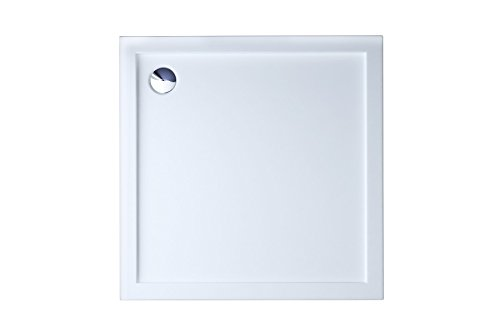 Durovin Bathrooms 900 x 900 x 40mm Shower Tray -Acrylic - Glossy White Finish –Square Shape