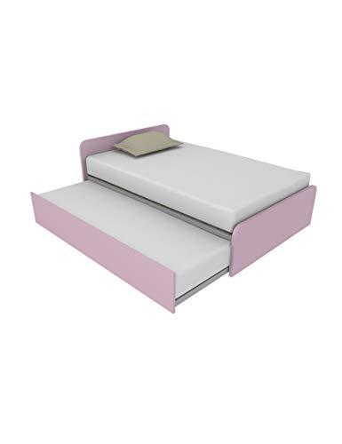 864R - Cama de 120 x 190 cm con segunda cama extraíble individual independiente y elevable para formar una cama de matrimonio, somieres incluidos, testados personalizables fabricados en Italia