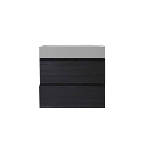 Mai & Mai Conjunto de Mueble de baño 70x46x56cm Mueble bajo en Gris Oscuro con 2 cajones Incluido Lavabo sin Orificio para grifería Incluido Grifo de Pared en Negro