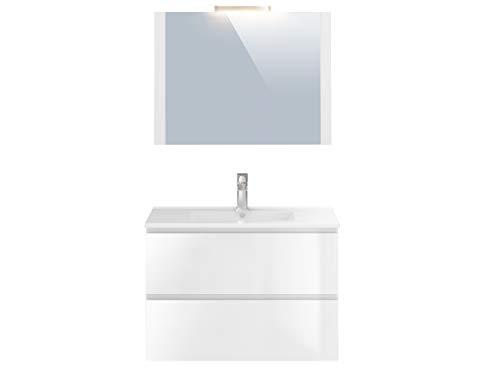 Amazon Marke -Movian Argenton - Waschtisch mit Spiegel und Waschbecken, 81x46,5x57cm, Weiß