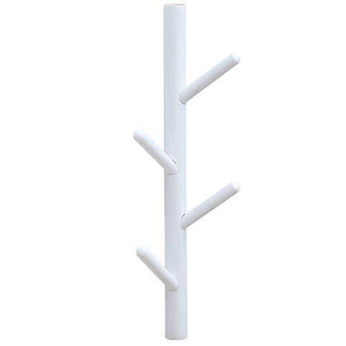 Anjing - Perchero de Pared con 6 Ganchos, diseño de árbol de bambú, Color Blanco