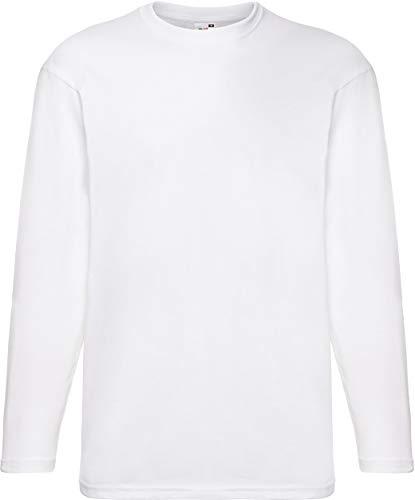 Camiseta de manga larga y cuello redondo para hombre de Fruit of the Loom Blanco Blancoo Medium