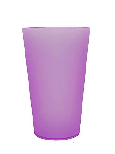 Monteluz - Juego de 18 Vasos de Plástico Reutilizables Duros y Originales - Irrompibles - 330ml Libres de Bpa (Morado, 18)