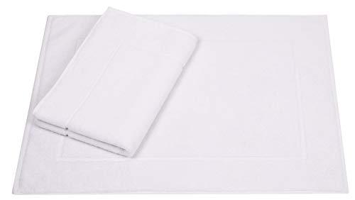 Betz 2er Set Badvorleger Badematte Badteppich Duschvorleger Frottee Größe 50x70 cm 95°C waschbar 100% Baumwolle Premium Qualität 650g/m² Farbe weiß