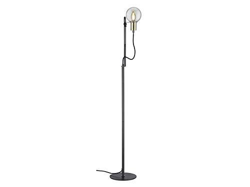 Vintage LED Stehleuchte höhenverstellbar bis 140cm in schwarz matt/bronze, E14 Fassung, Glas Ø 12cm