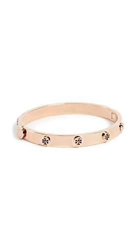 Tory Burch Women's Logo Stud Hinge Bracelet, Rose Gold, One Size
