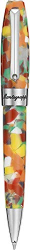MONTEGRAPPA Collezione FORTUNA MOSAICO Penna Sfera a Rotazione, Mosca Fantasia Colorata sui toni Giallo Rosso Arancio Bianco Ideale Penna Regalo per Artisti, Architetti, Creativi