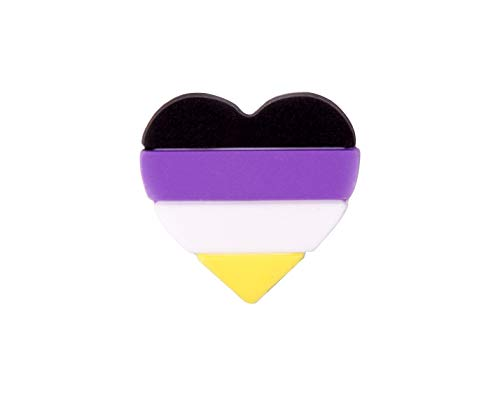 Fundraising For A Cause   LGBTQ Non-Binary Pride Silicone Heart Pin - Non-Binary Silicone Pin for Pride Month (1 Pin)
