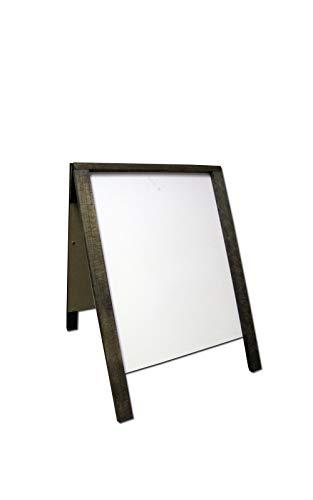 "NEOPlex 22"" x 28"" Hardwood Sidewalk Sandwich Board A-Frame Sign with Dry Erase Surfaces - Dark Walnut Stain Finish"