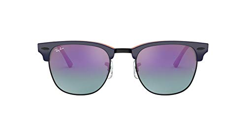 RB3016 Clubmaster Square Sunglasses, Top Blue On Havana Red/Blue MIRROR GRADIENT Fuchsia, 49 mm