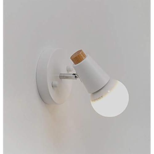 Baycheey Lampada da parete Nordic Iron E27 con testa universale regolabile Modern Simple Bedside Bedroom Lampada da parete in legno massello Corridoio Hotel Faretti Lampada da soffitto(bianco)