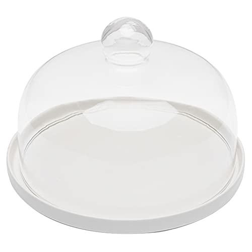 Cabilock Cúpula de cristal transparente con base, mango de soporte, campana de cristal, soporte para tartas, bandeja de mesa, centro para postre, queso, pastelería.