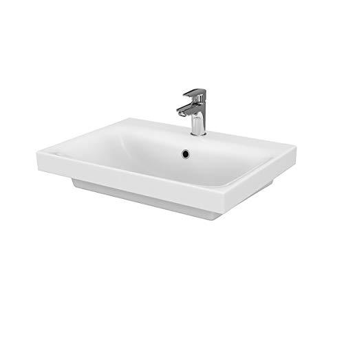VBChome Kollektion Moduo 60 cm x 45 cm Waschtisch für Unterschrank Einbau Waschbecken mit Überlauf Weiß Keramik Waschtisch Handwaschbecken Einbau -Waschschale FÜR BADEZIMMER
