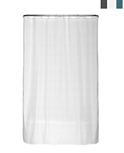 arteneur® - Premium Duschvorhang 120x180 – Antischimmel Duschvorhang Weiß mit Struktur-Stoff , Blickdicht, Wasserdicht, Waschbar und inkl. E-Book und Ringe (Schnee Weiß)