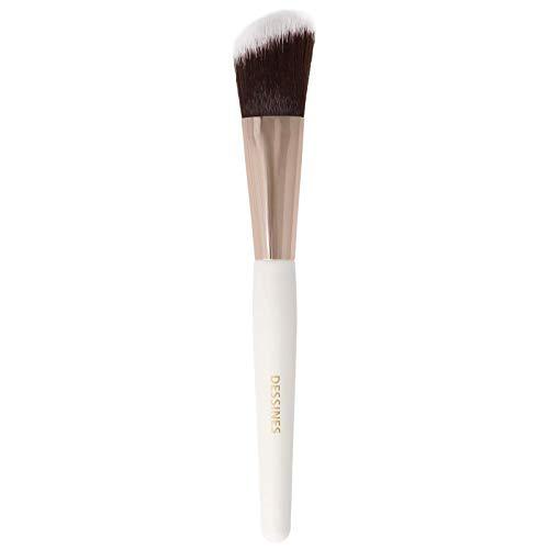 DESSINES Pinceau de maquillage professionnel synthétique - Pinceau pour fond de teint, poudre, yeux Kabuki de qualité supérieure (blanc/or) (Blush Contour TU778)