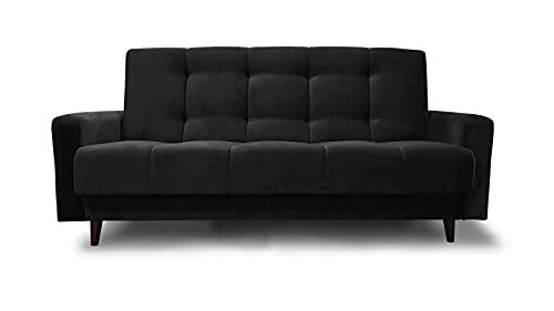 Sofa Bed Nancy Mini BIS 195x116 cm Polstersofa Wohnzimmer Schlafcouch Schwarz