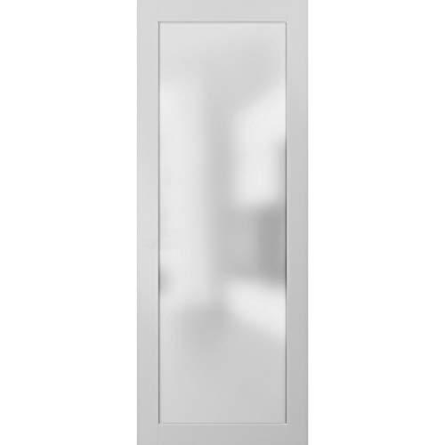 Opaque Glass Door Panel Slab 32 x 80   Planum 2102 White Silk   Use as Barn Pocket Sliding Closet   Solid Wood Core Interior Door
