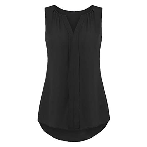 DOLAA Tops Casuales sin Mangas para Mujer Túnica Suelta Camisola Camisas con Cuello en v Camisas para Mujer Gasa Casual Color sólido Camisetas sin Mangas de Verano Camisas Camisetas Casuales