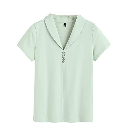 Spring and Summer - Camiseta de manga corta para mujer (cuello en pico), diseño coreano verde claro XL