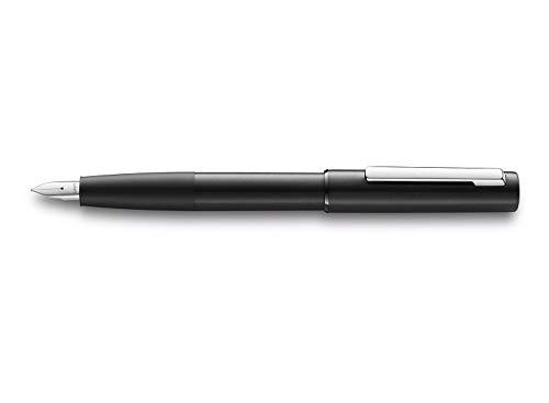 LAMY aion Füllhalter 077 – Füller aus eloxiertem Aluminium in der Farbe Schwarz mit gestrahltem Griffstück und Stahlfeder – Federstärke B
