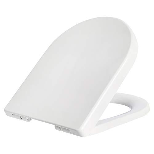 Amazon Basics - Asiento de inodoro AB-T101-R-W con mecanismo de cierre suave, redondo, blanco, 1 unidad