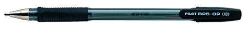 Pilot BPS GP Kugelschreiber 12 Stück gummierter Griff extra breite 1,6mm Schreibspitze 0,55mm Strichbreite 12 Stück schwarz