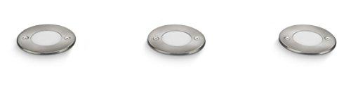 Philips myGarden 178194716 Clover Solar LED Einbauspot, Höhe 7.2 cm, Edelstahl, 3 flammig