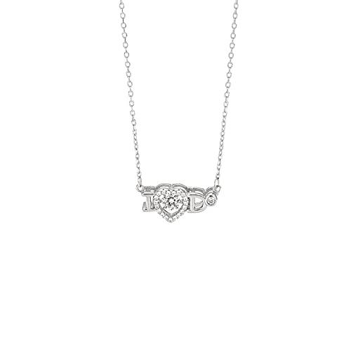 PNku S925 plata 520 nuevo amor collar mujeres ligero lujo nicho Ido incrustaciones diamante inteligente Corea moda clavícula
