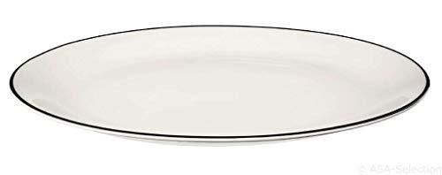 ASA Ligne Noire Assiette Plate Porcelaine Blanc 26,5 cm