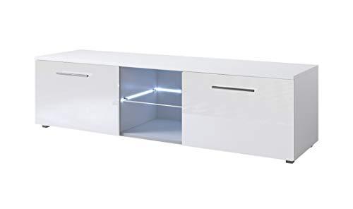 muebles bonitos TV Möbel Lowboard Schrank Ständer Dublin Korpus weiß normal Glanz/Front Weiss Hochglanz 140cm mit LED RGB