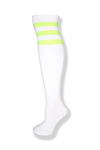 NeonNation Knielange Röhrensocken mit drei Streifen in verschiedenen Farben für Damen Einheitsgröße Neongrün