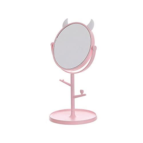 JIYANANDPHZJ Espejo Espejo de Escritorio para Maquillaje y Espejo Rosado Independiente, diseño Plegable para Mesa, Espejo de tocador con Espejo de Ducha de pie