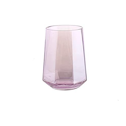 Copa de vino vaso de agua vidrio de jugo de vino octogonal geométrico vidrio de diamante creativo vidrio de whisky vidrio de agua taza de café vaso de jugo de cerveza (Color: borde de oro blanco)
