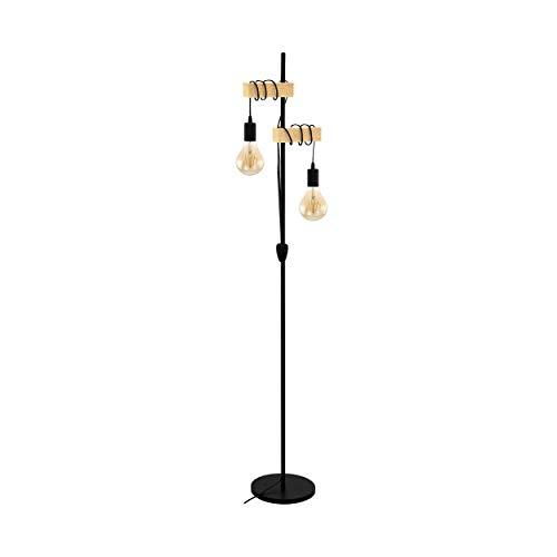 EGLO Stehlampe Townshend, 2 flammige Vintage Stehleuchte im Industrial Design, Retro Standleuchte aus Stahl und Holz, Farbe: schwarz, braun, Fassung: E27, inkl. Schalter