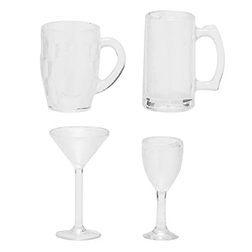 4 piezas 1:12 casa de muñecas taza para beber modelo copa de vino taza de cerveza modelo miniatura Bar Pub taza para beber accesorio de juguete(Juego de vasos para beber)